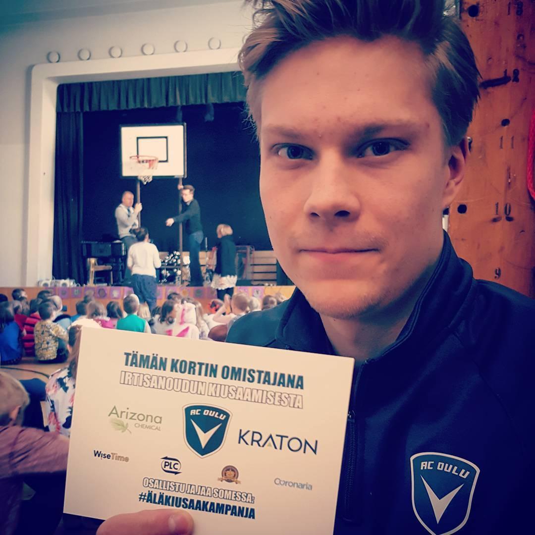 lKiusaaKampanja jalkautui tnn Teuvo Pakkalan koululle synttrisankari Juuso Kemppaisen johdollahellip