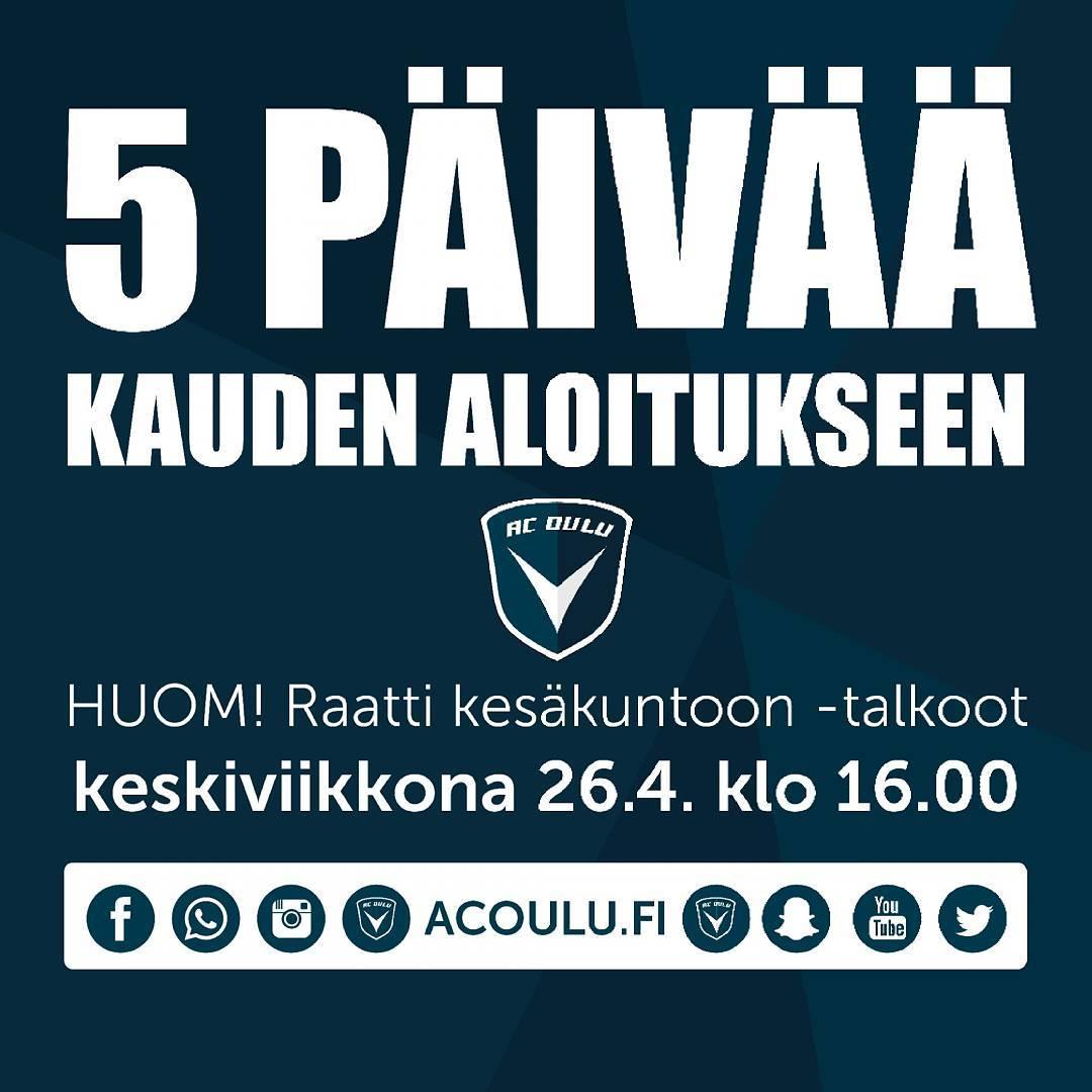 Viiden pivn pst mennn! Mikli haluat auttaa AC Oulua kauteenhellip